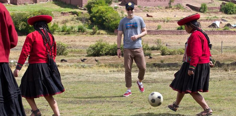 Playing football in Andes Peru