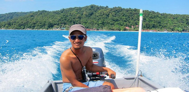 Travelling by boat in the Perhentian Islands Malaysia