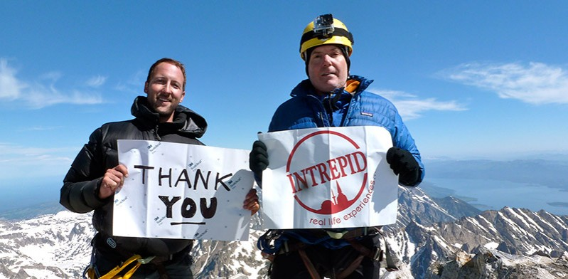Tim and Charles climb a mountain in United States to help kids