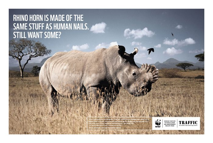 Save the Rhino campaign by WWF and Traffic