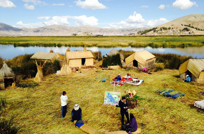 floating islands of Lake Titicaca Peru