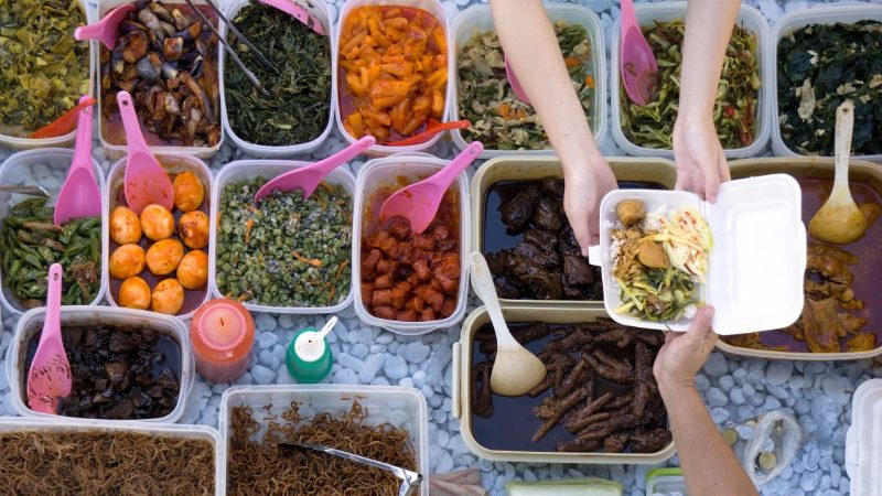 Trays of food at the markets