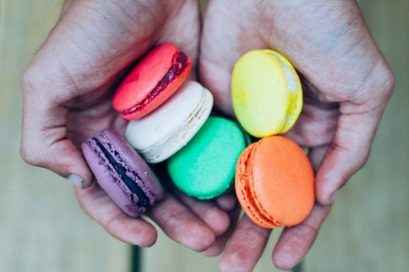 Handful of colourful macarons