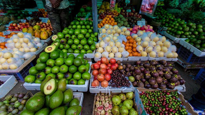 Colourful fruit and vegetables in a Sri Lankan market